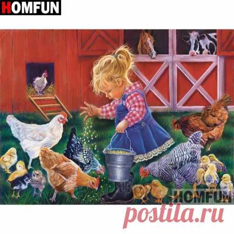 5D алмазная вышивка HOMFUN, алмазная вышивка «ребенок курица», вышивка крестом, домашний декор, полный квадрат/круглая дрель, A17974|Алмазная роспись, вышивка крестом