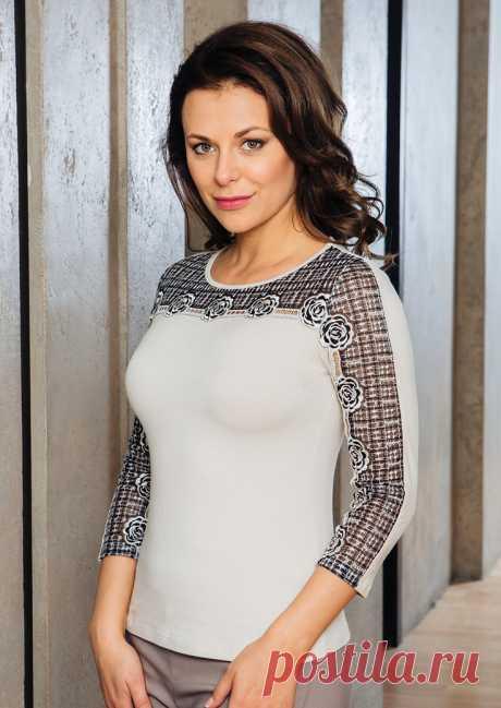 830476f982d3 Красивая блузка Top Design А7 122 Латвия с рукавом три четверти из мягкой  вискозы, украшена