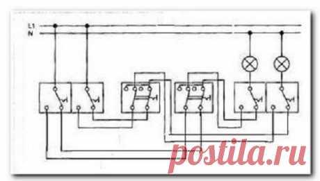 Схема подключения проходного двухклавишного выключателя - инструкция для установки