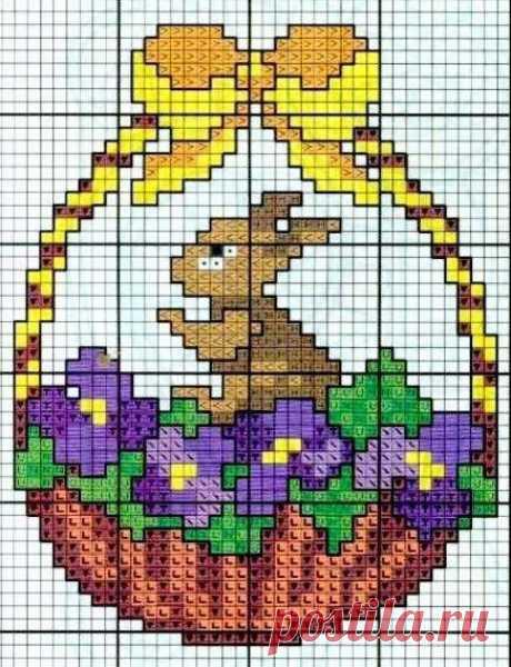 Вышиваем плетенные корзинки