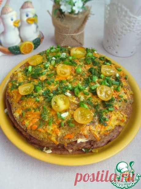 Закусочный баклажанный торт с плавленым сыром Кулинарный рецепт
