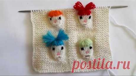 """Tutorial. Интересный узор """"Детские лица"""" спицами. Дизайн вышивки и вязания"""