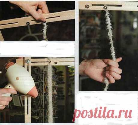 Изготовление пряжи для вязания из меха..