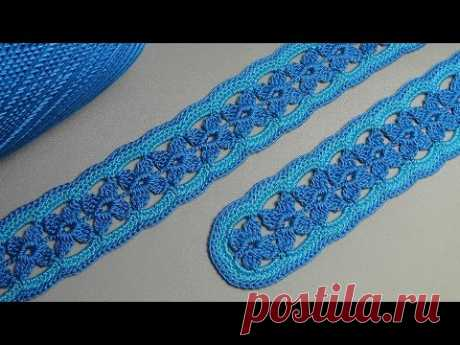 How to knit tape lace - a knitting lesson a hook - knitting of a belt - lace tape