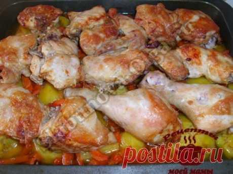 Курица в духовке с картофелем. Рецепт. Фото
