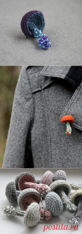 Beaded mushroom crochet brooch blue pin whimsical jewelry