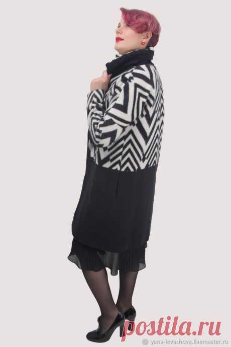 Пальто черно-белое шерсть с кашемиром демисезонное – купить на Ярмарке Мастеров – LPU0SRU | Пальто, Москва
