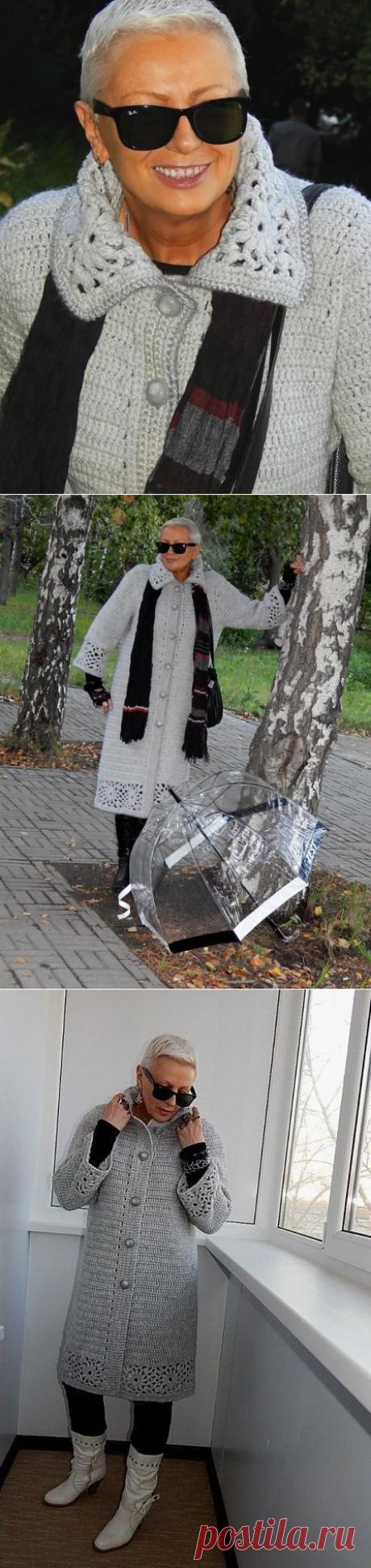 Элегантное пальто от Натальи Филипповой. Приблизительная схема цветочного мотива
