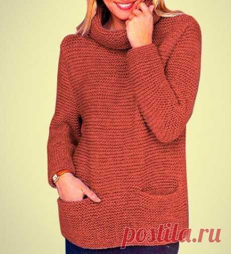 Простой способ связать мягкий и тёплый свитер с карманами | Идеи рукоделия | Яндекс Дзен
