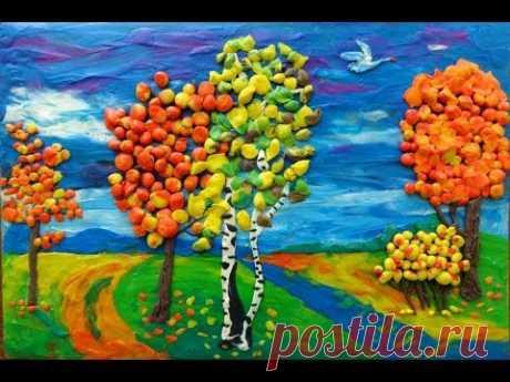 Пластилиновая осень / ИДЕИ в ДЕТСКИЙ САД / КАРТИНА ОСЕНЬ/ Осенний пейзаж / Поделки на тему осень