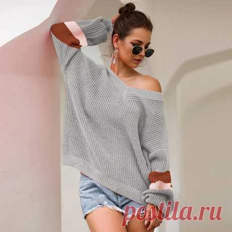 Женский свитер и пуловер, Свободная трикотажная туника с цветными блоками, реглан с длинным рукавом и v образным вырезом, вязаный Топ, базовый свитер большого размера|Водолазки| Детские жаккарды| роспись по ткани | готовые выкройки |