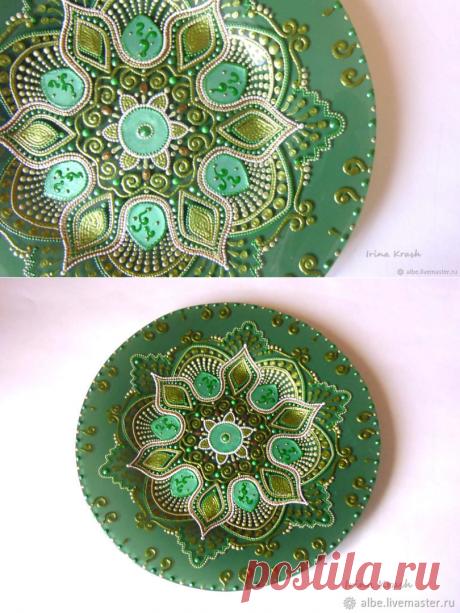 Тарелка Малахитовый цветок точечная роспись в интернет магазине на Ярмарке Мастеров