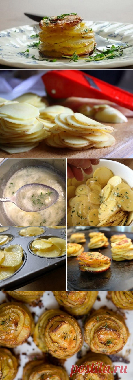 Башенки из картофеля.  Ингредиенты:   1 кг (или 800 г) картофеля; 6–8 столовых ложек сливочного масла (лучше топленого); соль и перец; свежий тимьян (чабрец); небольшой измельченный зубчик чеснока (по желанию); форма для выпечки кексов.