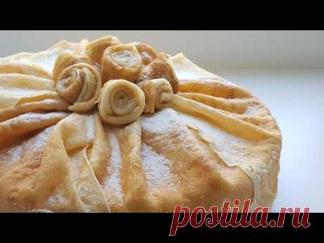 Pancake cake with creamy and cottage cheese cream \ud83d\udc9b easy cake recipe