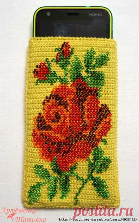 Master class in knitting of a cover for phone in technology of knitting of a cloth with partial drawing beads. Hook. Detailed MK. \/ Discussion on LiveInternet - the Russian Service of Online Diaries