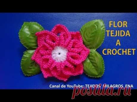 Flor tejida a crochet # 3 para tejer tapetes o carpetas con flores