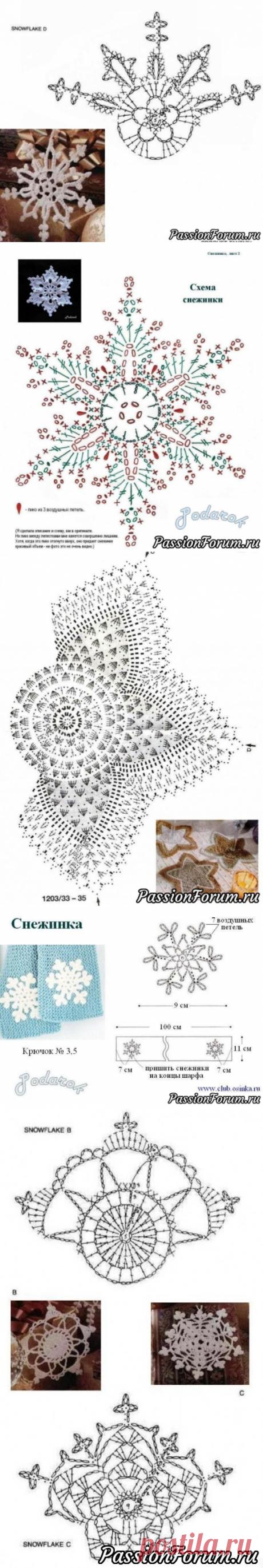 Снежинки крючком - запись пользователя Елена в сообществе Вязание крючком в категории Вязаные крючком аксессуары