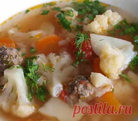 Диетический Суп с цветной капустой и фрикадельками - рецепты с фото