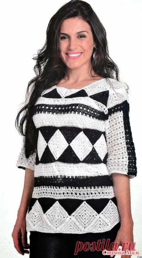 Черно-белая геометрия. Пуловер с ромбами - Все в ажуре... (вязание крючком) - Страна Мам
