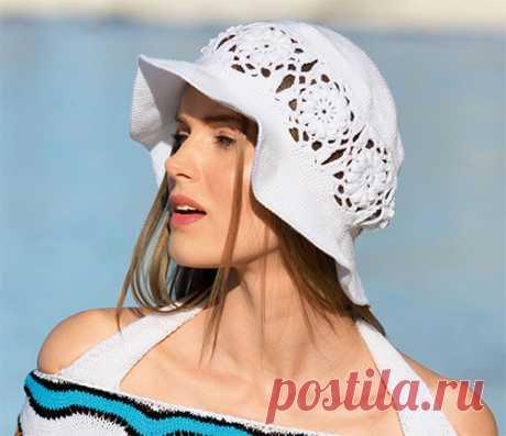 Шляпа с цветочным бордюром  Пляжная шляпа с бордюром из цветочных мотивов вяжется довольно просто, так что связать себе эту надежную защиту от солнца смогут даже не очень опытные рукодельницы. РАЗМЕРЫ Обхват головы 54–58 см ВАМ…
