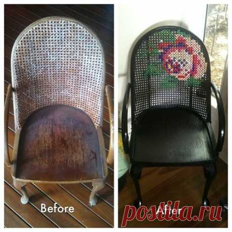 Вышивка на плетеном стуле / Мебель / ВТОРАЯ УЛИЦА