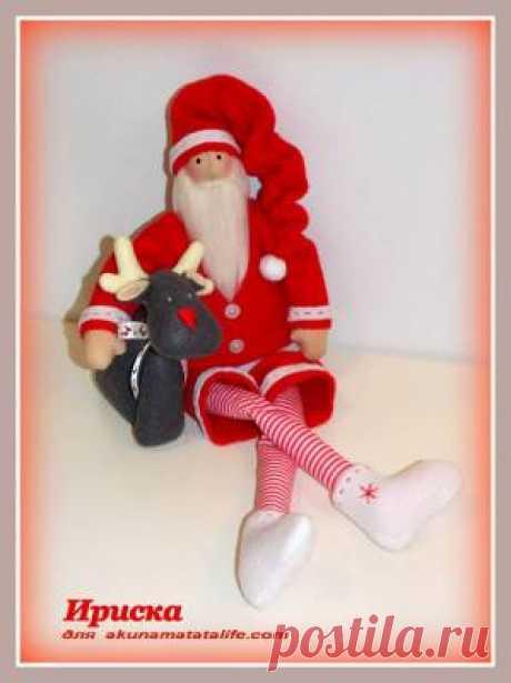 """Как сшить тильду «Санта Клаус с оленем» всего в 3 этапа. - Шьём игрушки - Журнал """"Акуна матата"""": вышивка и схемы, сад, рассказы."""