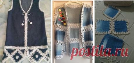 Вязаниее с тканью: джинсовая ткань и крючок - идеи для рукодельниц | МНЕ ИНТЕРЕСНО | Яндекс Дзен