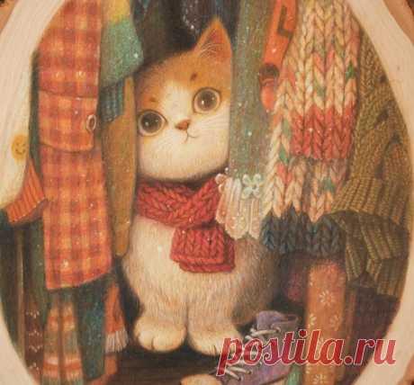 Разбирая вещи в шкафу, можно найти много хорошего и пять раз кота.