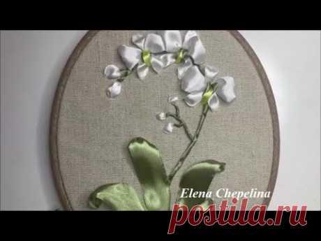 Орхидея из атласной ленты. Вышивка лентами своими руками. Простые мастер классы по вышивке лентами.