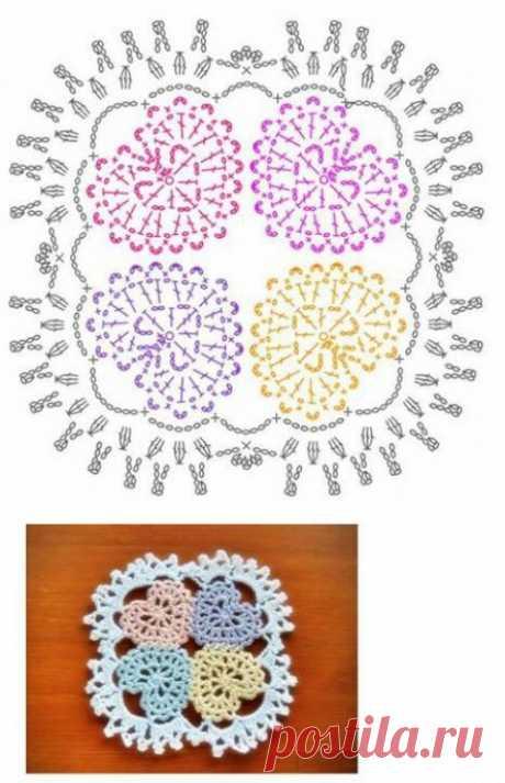 """Салфетка """"Семья сердец"""" из категории Интересные идеи – Вязаные идеи, идеи для вязания"""