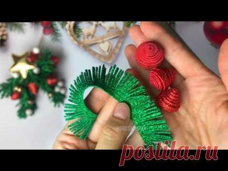Как сделать декор на рождество из фоамирана! ветка ели на прищепке. Украшение на елку своими руками