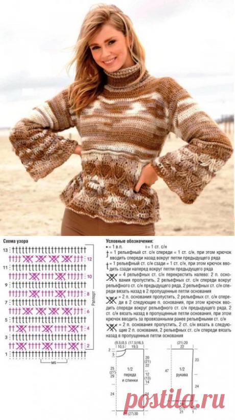 Красивый женский свитер крючком