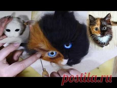 A 3D needle felted Cats head Painting