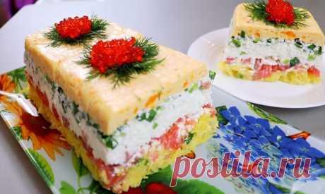 Новый салат «Сувенир». Авторский рецепт Салат с соленой красной рыбой.