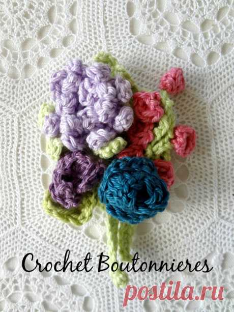 Crochet Boutonniere Pattern crocheted roses rose buds от sewella
