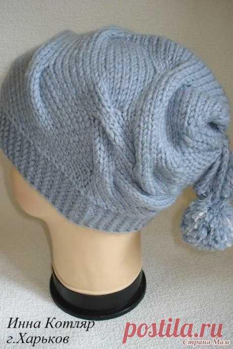 Интересная модная вязаная женская шапка (Вязание спицами) – Журнал Вдохновение Рукодельницы