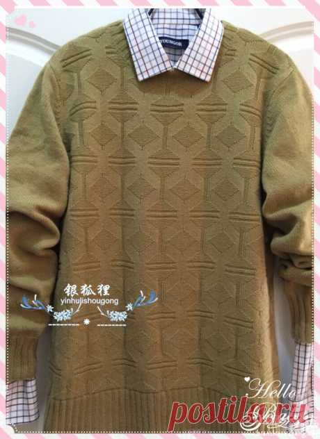 时光 简约大方男士棒针羊绒衫-编织教程-编织人生
