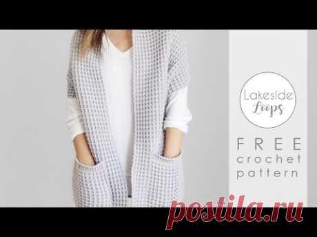 Watson Waffle Sweater Cardigan FREE Crochet Pattern Video Tutorial