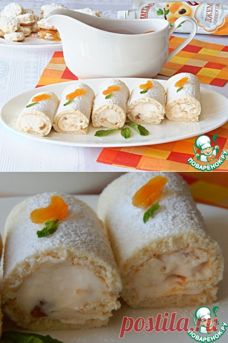 Рулетики со взбитыми сливками и абрикосовым джемом - кулинарный рецепт