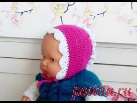 Чепчик крючком для новорожденного_Cap crochet for newborn #чепчиккрючком #вязаниекрючком