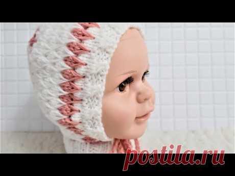 Детская шапочка (чепчик) спицами.  Самая удобная!!! ПОдробный мастер класс