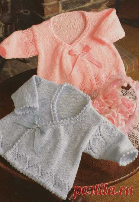 5e5a9af800e3f knitting pattern PDF for baby girls wrap cardigans in sizes 14 16 and 18  inch chest