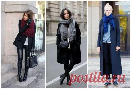 Как носить шарф с пальто с английским воротником и без: хомут, палантин, шарф-снуд