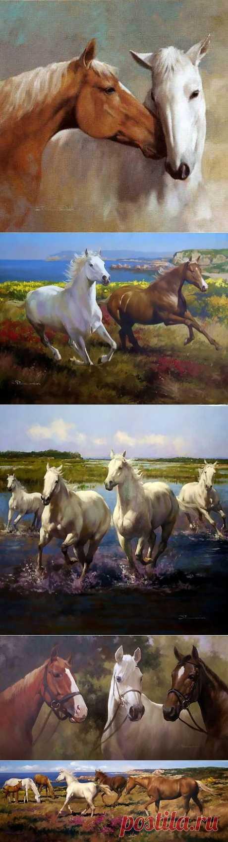 Лошади в картинах Spartaco Lombardo.