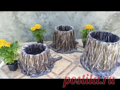 Кашпо пенёк из старого ведра и ненужных вещей   DIY flower pot
