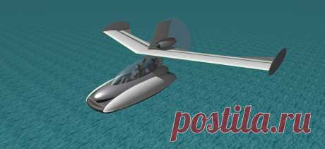 Концептпроект. Летательный аппарат с крылом Каспервинг на воздушной подушке. В посадочном положении.