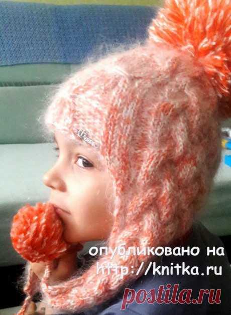 Комплект: шапка – ушанка и шарф – хомут для девочки, Вязание для детей
