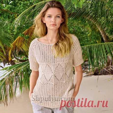 Ажурный бежевый пуловер реглан с короткими рукавами — Shpulya.com - схемы с описанием для вязания спицами и крючком