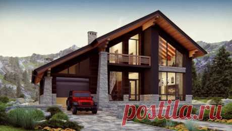 Дом в стиле ШАЛЕ. Проект двухэтажного дома с гаражом 199 кв.м. | SketchUp + Lumion 8