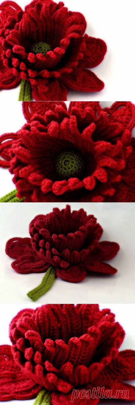 Crochet Brooch Fiber Brooch Red Rose Pin Irish от Nothingbutstring